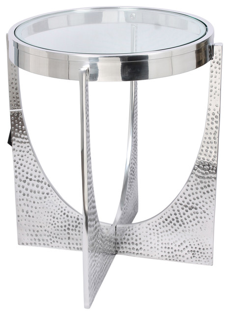 Horizon Hammered Nickel U Shaped Side Table Contemporary Side Tables And