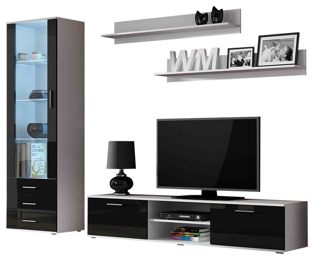 Soho 4 Piece Tv Set, White/black.
