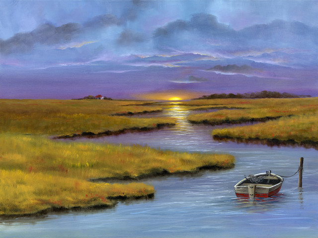 """""""The Marshes"""" Canvas Painting by H. Hargrove, 24""""x20"""""""