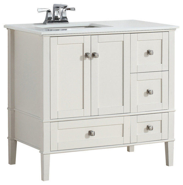 Chelsea Bath Vanity With White Quartz Marble Top 36 Left Offset Transitional Bathroom