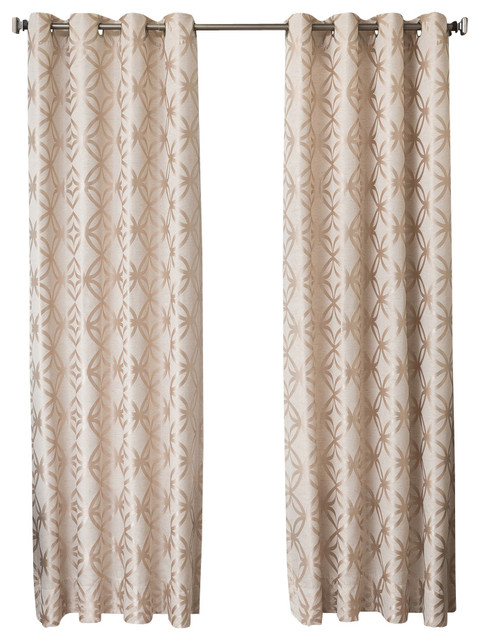 "Pamplin Grommet Top Curtains, Natural, 84""."