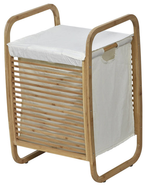 Evideco Laundry Hamper Basket Clothing Organizer Bamboo White Fabric.