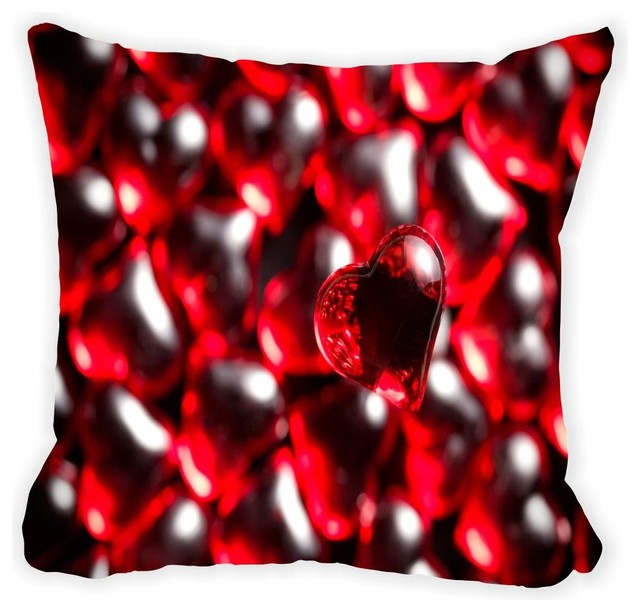 Red Gl Hearts Background Microfiber Throw Pillow No Fill