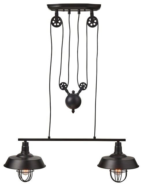 Farmhouse Pulley Double Pendant Light Black.