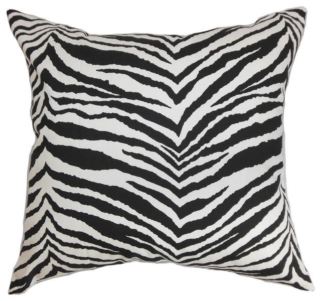 "Cecania Zebra Print Pillow Black White 18""x18""."