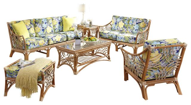 Bali 6-Piece Living Room Furniture Set In Natural, Set Sail Fabric.