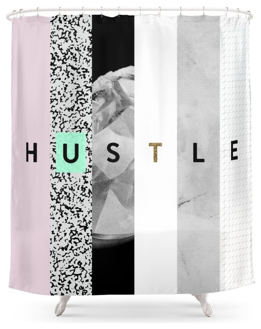 Society6 Hustle Shower Curtain Contemporary Shower Curtains
