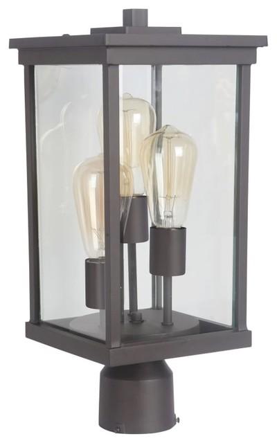 Craftmade Z9725 Riviera Iii 3-Light 18 High Outdoor Post Light, Oiled Bronze.