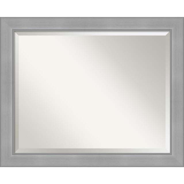 Vista Brushed Nickel Bathroom Vanity, Nickel Framed Vanity Mirror