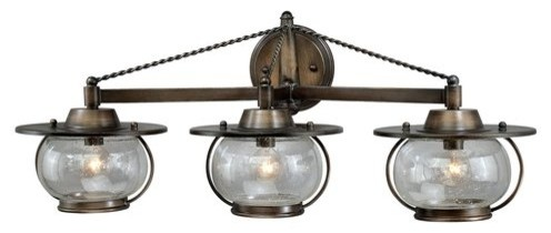 Lantern Bathroom Vanity Lights jamestown 3-light vanity - beach style - bathroom vanity lighting