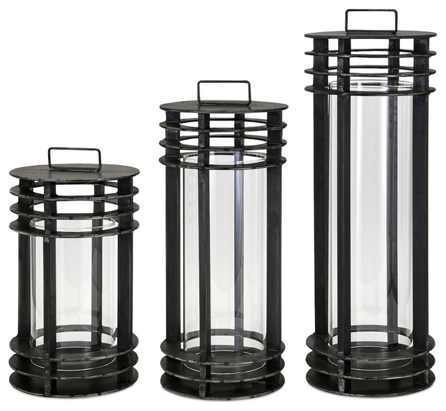 a3d6e6fbe9 Imax Electra Metal Lanterns, 3-Piece Set, Black Finish - Industrial -  Candleholders - by GwG Outlet