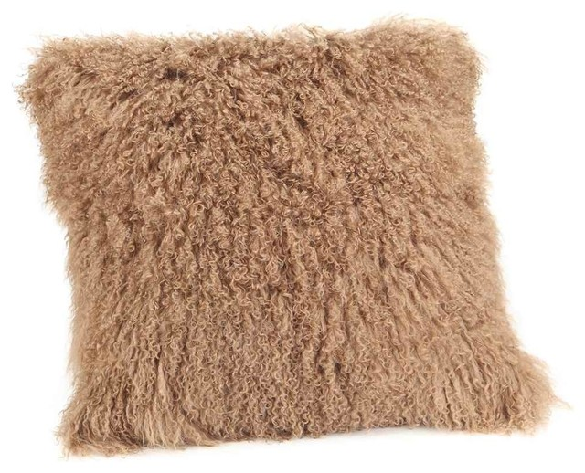 Large Brown Throw Pillows : Moes Home Collection - Large Lamb Fur Pillow in Brown & Reviews Houzz
