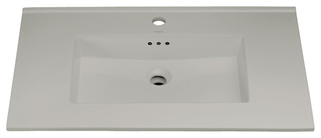 Ronbow Essentials Larisa 32 Ceramic Sink Top With Single Faucet Hole, Cool Gray.