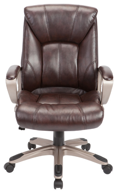 Adjustable Brown Swivel Office Chair.