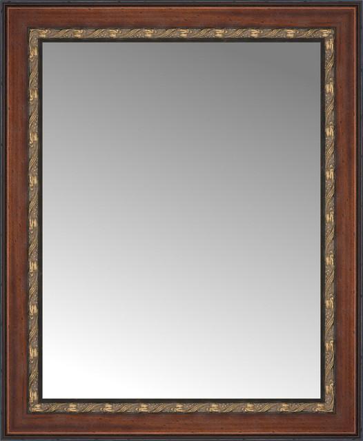 "25""x30"" Custom Framed Mirror, Ornate Brown."