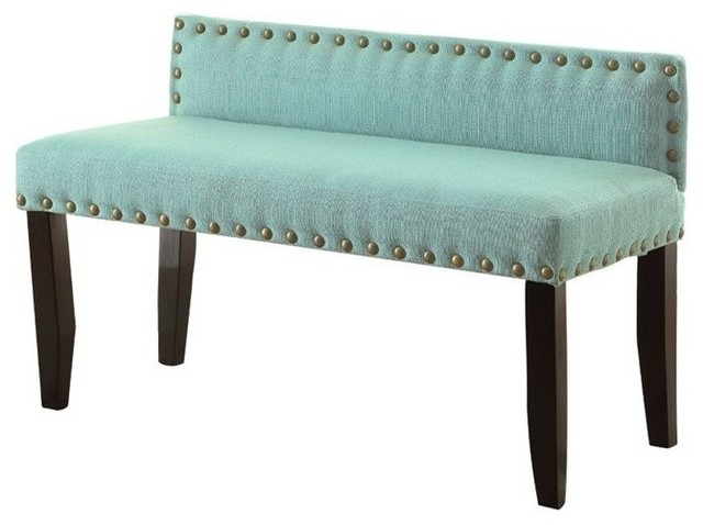 Furniture Of America Herstal Linen Bedroom Bench Blue Upholstered Benches By Homesquare