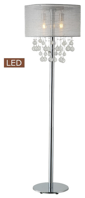 "Charlotte 61"" Modern Chrome Led Floor Lamp With Bubbles Glass Balls."