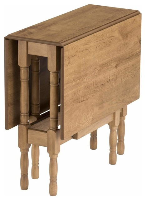 Contemporary Table, Warm Solid Wood, Drop Leaf and Heat Resistant Design