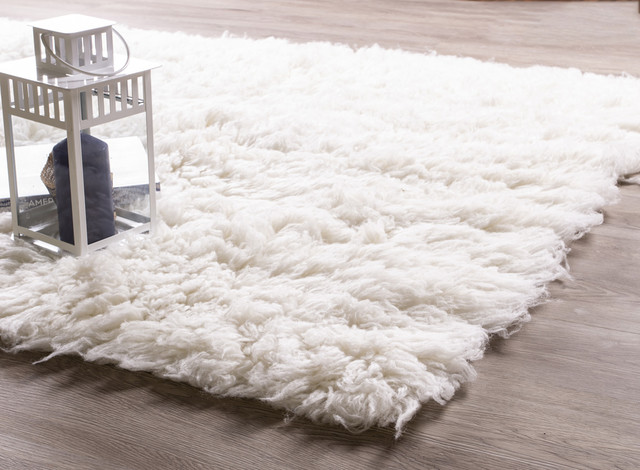 Pure Eco-Friendly Wool Flokati Shag Rug, White, 4'x6'