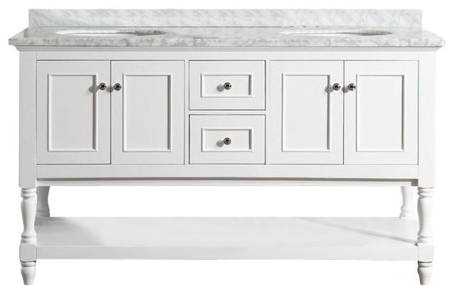 "Grover Carrara Marble Bathroom Vanity, Without Mirror, 60""."
