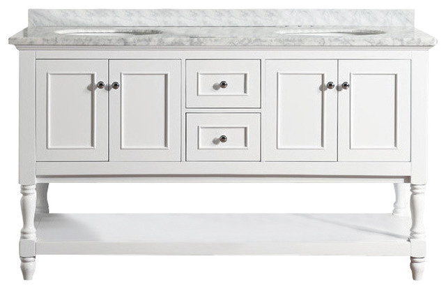"Cape Cod 60"" White Bathroom Vanity, Without Mirror"