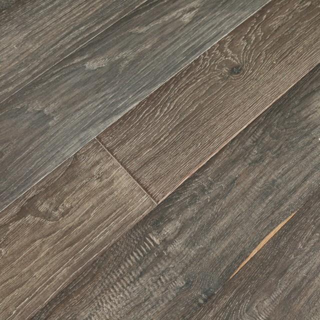 Great French Oak Vintage Engineered Wood Floor Sample, Vintage Ebony Traditional  Engineered Wood