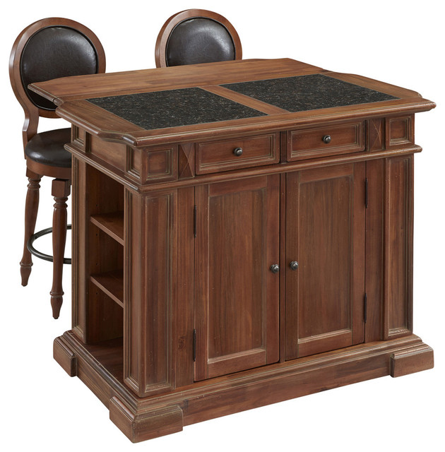 Americana Vintage Kitchen Island and 2 Stools Set Traditional Kitchen Isl
