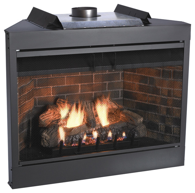 Deluxe 36 Keystone Series Mv Flush Face B-Vent Fireplace, Natural Gas.