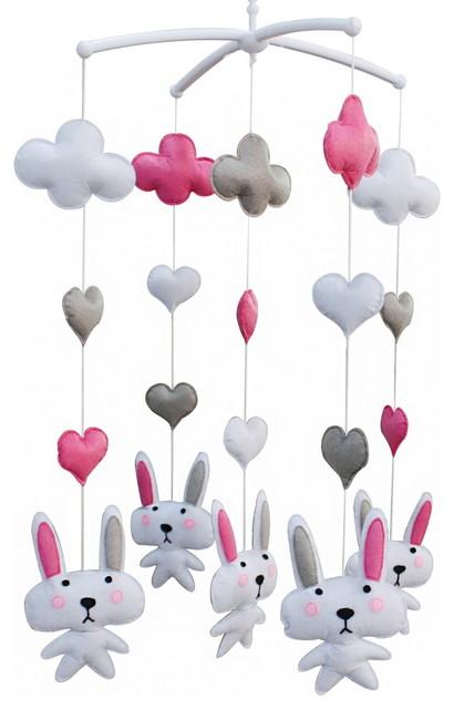 Crib Musical Mobile, Lovely Hanging Toys, Handmade Toy, Cute Rabbit