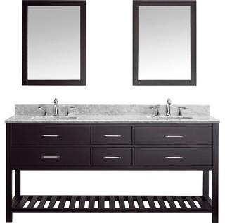 "Avignon Espresso Bathroom Vanity, Square Basin, 2 Mirrors, Without Faucet, 72"""