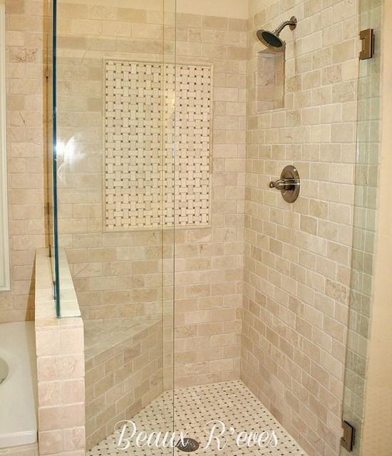 Bathroom Shower Travertine Subway Basket Weave