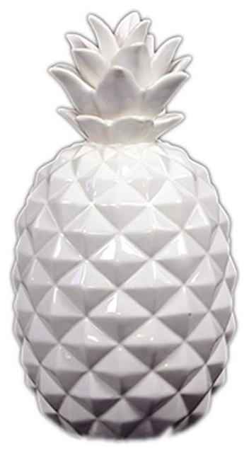 White ceramic pineapple contemporary decorative for Modern decorative objects