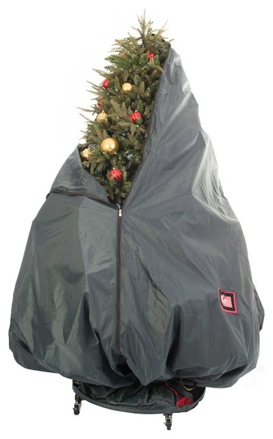 Village Christmas Tree Stand.Decorated Upright Tree Storage Bag W Rolling Tree Stand
