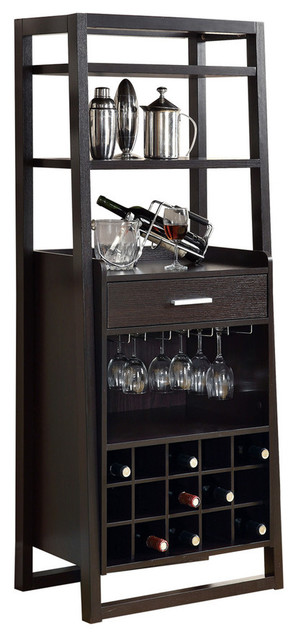 Amazing Ladder Style Home Bar, Cappuccino Transitional Wine And Bar Cabinets