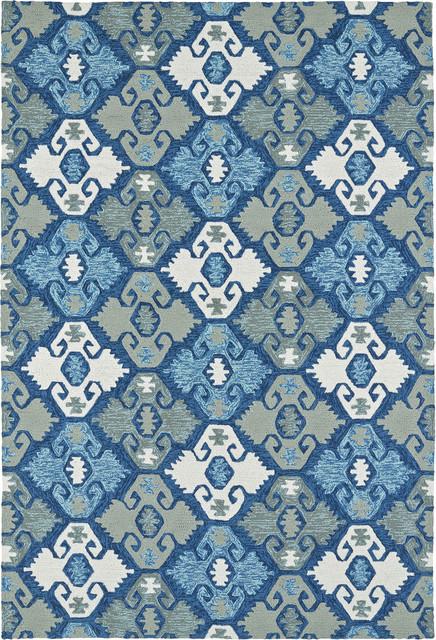 Kaleen Habitat 2112 Blue Rug Southwestern Outdoor Rugs