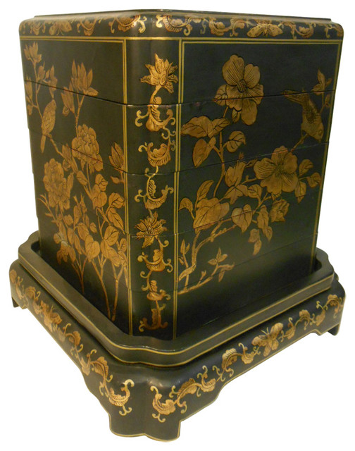 Hand painted oriental black lacquer stacking box asian for Hand painted oriental furniture