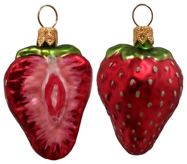 Strawberry Fruit Polish Mouth Blown Glass Christmas Ornament Set