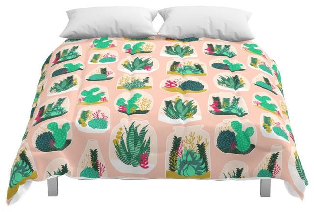 Terrariums, Little Planters for Succulents in Repeat Pattern Comforter, Queen