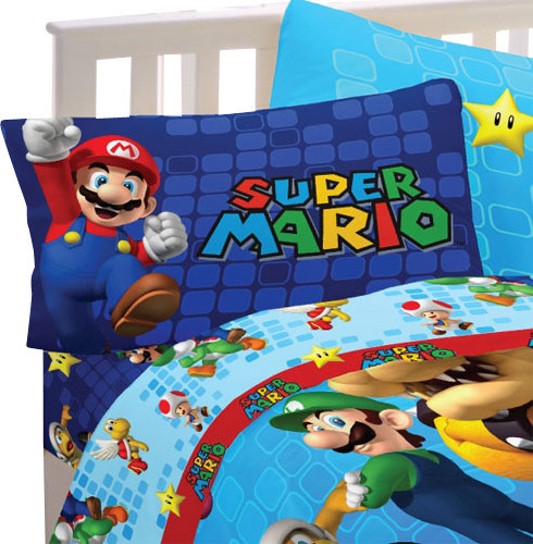 super mario bed sheet set fresh look bedding accessories, coloring pages