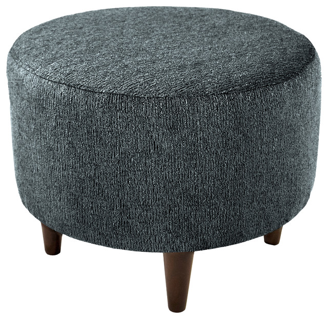 Marvelous Sophia Round Ottoman With Round Espresso Finished Legs Charcoal Gmtry Best Dining Table And Chair Ideas Images Gmtryco