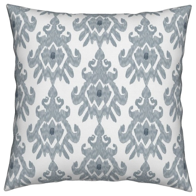 Ikat Slate Blue Gray White Tribal Throw Pillow Mediterranean Outdoor Cushions And Pillows By Roostery