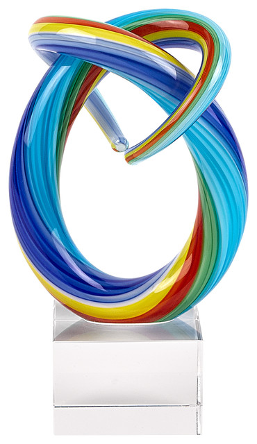 Murano Style Mini Rainbow Art Glass Centerpiece 6 Tall Contemporary Decorative Objects And Figurines By Badash Crystal