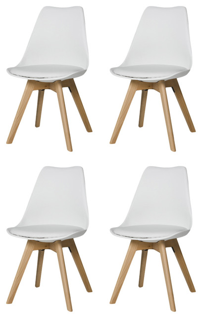Urban Modern Dining Chairs, Set of 4, White