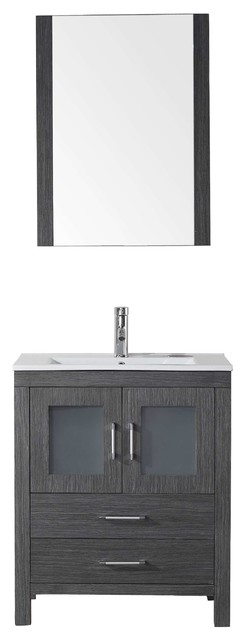 "Renaud Vanity Set, Ceramic Top, Brushed Nickel Faucet, 28""."