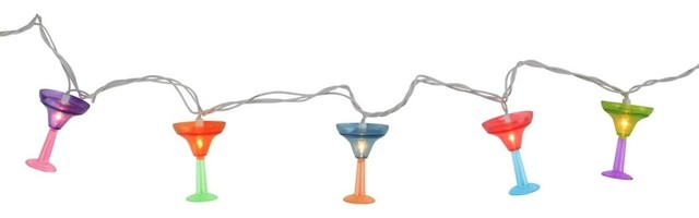 Multicolored Martini Glass Summer Garden Patio Christmas Lights.