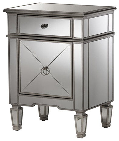 Claudia Hollywood Glamour Style Mirrored Nightstand, Silver Mirrored.