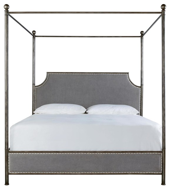 Sojourn Grey Linen Upholstered Iron Canopy Bed, Queen, King