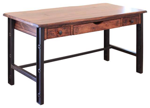 "Granville Cast Iron Base And Solid Parota Wood Top 60"" Desk."