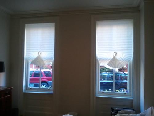 Stinky smelling room darkening shades. Help.