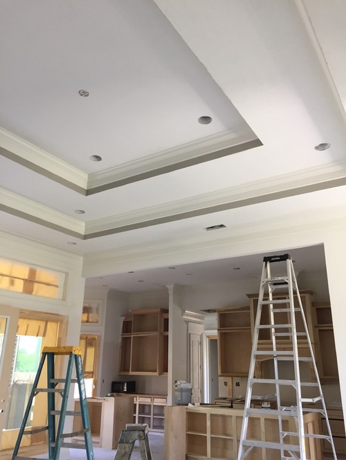 We have step up ceilings that are 14 feet. Suggestions on lighter ceiling  color that would pair with alabaster trim and mindful gray walls?